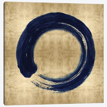 Blue Zen Circle on Gold I Canvas Print #ERO145} by Ellie Roberts Canvas Artwork