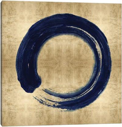 Blue Zen Circle on Gold I Canvas Art Print
