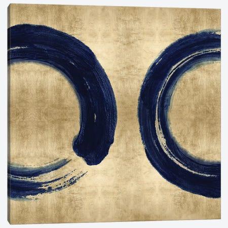 Blue Zen Circle on Gold II Canvas Print #ERO146} by Ellie Roberts Canvas Artwork