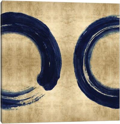 Blue Zen Circle on Gold II Canvas Art Print