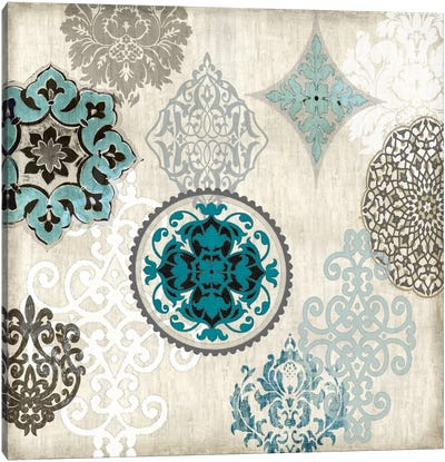 Decorative Blue Ornaments II Canvas Art Print