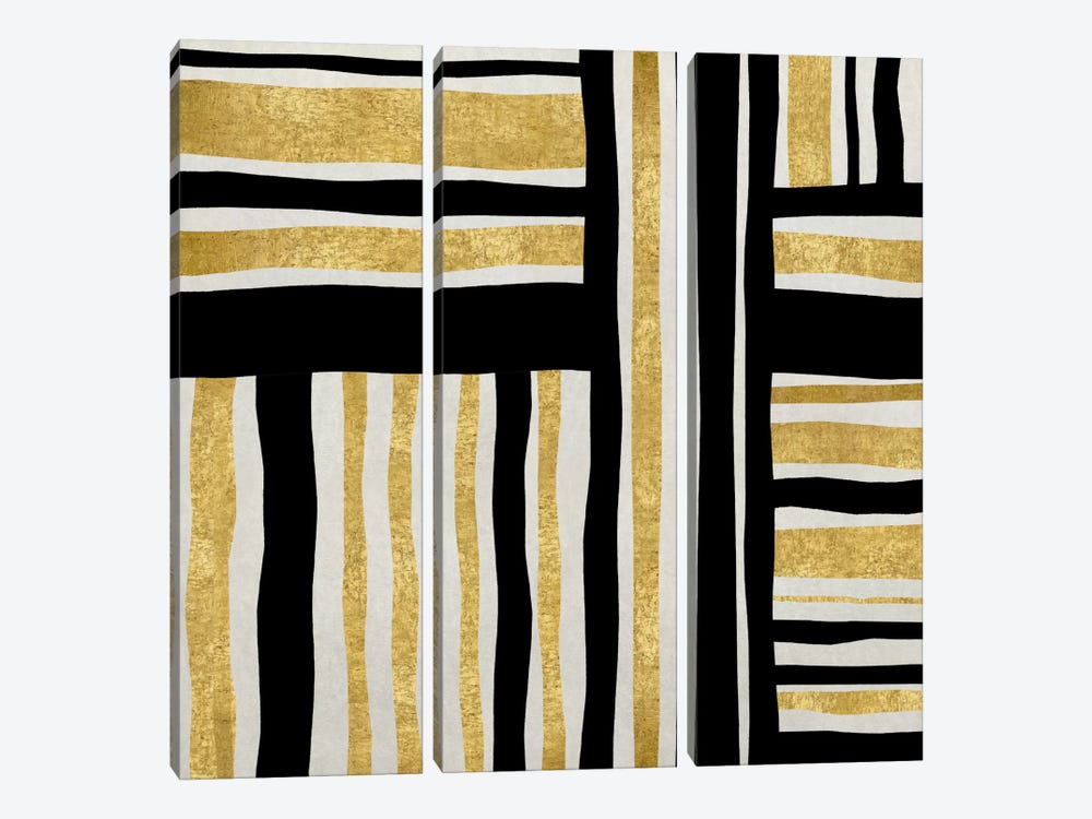 Gilded Groove I by Ellie Roberts 3-piece Canvas Artwork