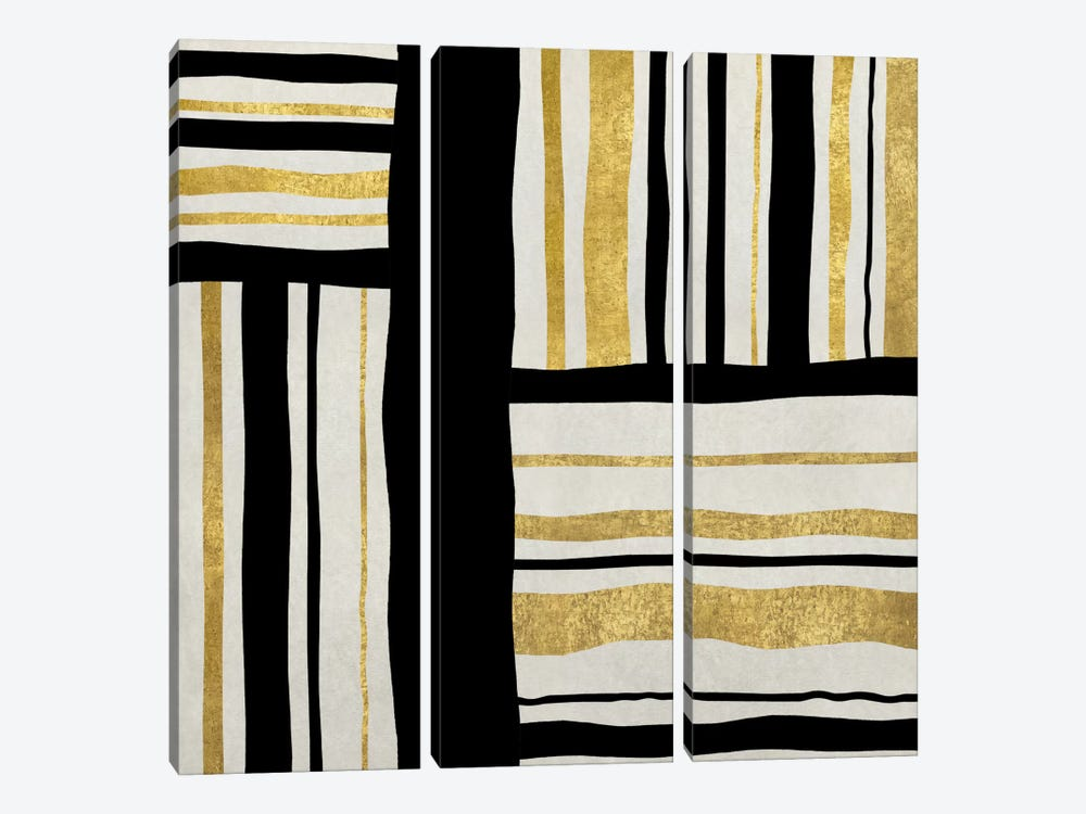Gilded Groove II by Ellie Roberts 3-piece Canvas Art Print
