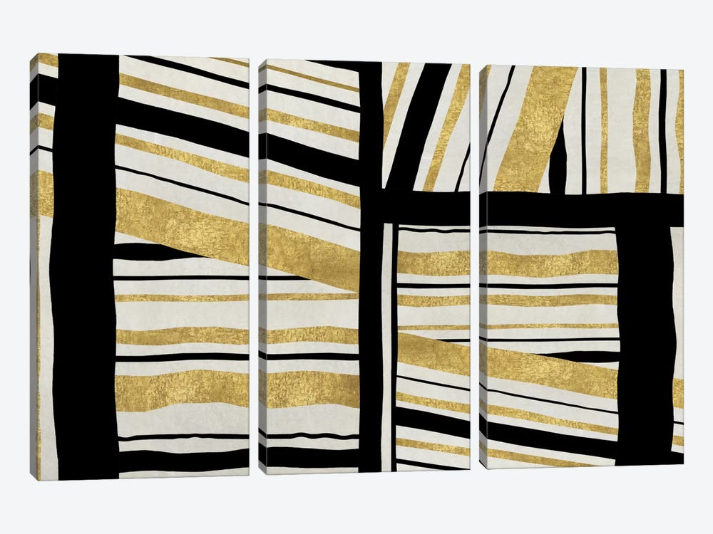 Intersect - Golden by Ellie Roberts 3-piece Canvas Art Print
