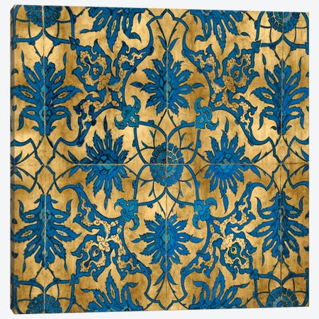 Ornate In Gold And Blue Canvas Print #ERO56} by Ellie Roberts Canvas Wall Art