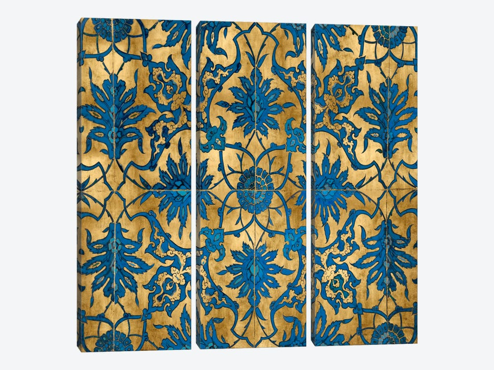 Ornate In Gold And Blue by Ellie Roberts 3-piece Canvas Art Print