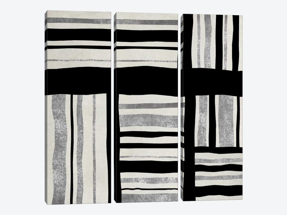 Silver Groove I by Ellie Roberts 3-piece Canvas Wall Art
