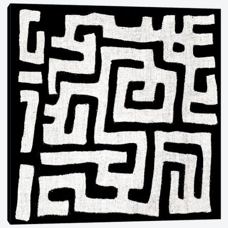 Mudcloth Black Geometric Design I Canvas Print #ERO88} by Ellie Roberts Canvas Artwork