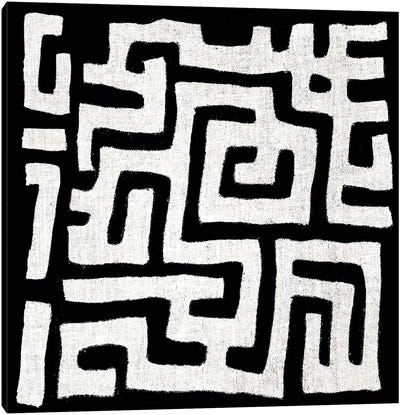 Mudcloth Black Geometric Design I Canvas Art Print