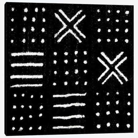 Mudcloth Black Geometric Design II Canvas Print #ERO89} by Ellie Roberts Canvas Art