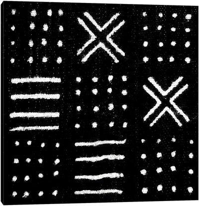 Mudcloth Black Geometric Design II Canvas Art Print