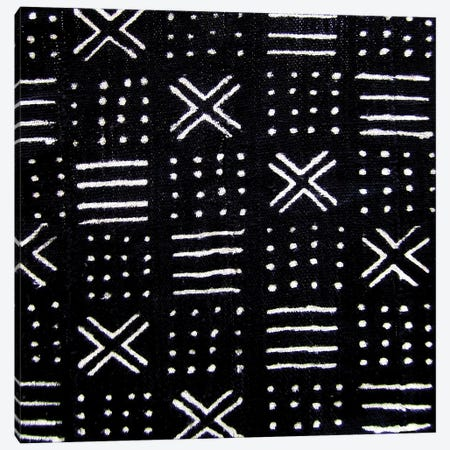 Mudcloth Black Geometric Design III Canvas Print #ERO90} by Ellie Roberts Canvas Print