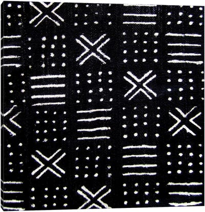 Mudcloth Black Geometric Design III Canvas Art Print