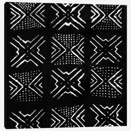 Mudcloth Black Geometric Design IV Canvas Print #ERO91} by Ellie Roberts Art Print