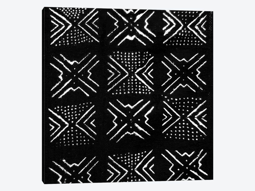 Mudcloth Black Geometric Design IV by Ellie Roberts 1-piece Canvas Artwork