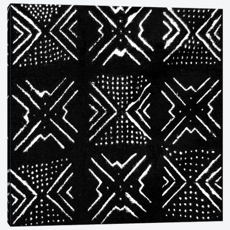 Mudcloth Black Geometric Design V Canvas Print #ERO92} by Ellie Roberts Canvas Print