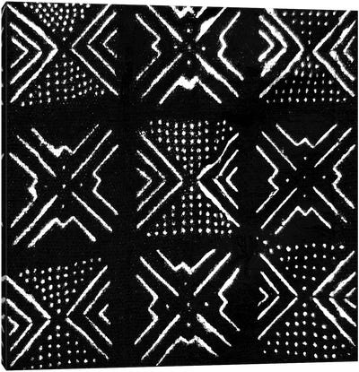 Mudcloth Black Geometric Design V Canvas Art Print