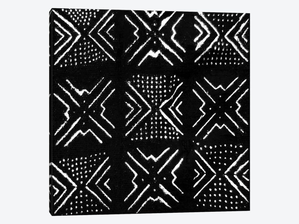 Mudcloth Black Geometric Design V by Ellie Roberts 1-piece Art Print