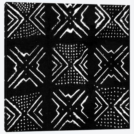 Mudcloth Black Geometric Design V Canvas Print #ERO92} by Ellie Roberts Canvas Print