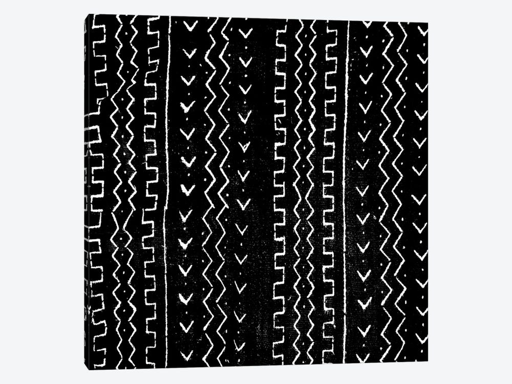 Mudcloth Black Geometric Design VI by Ellie Roberts 1-piece Canvas Art
