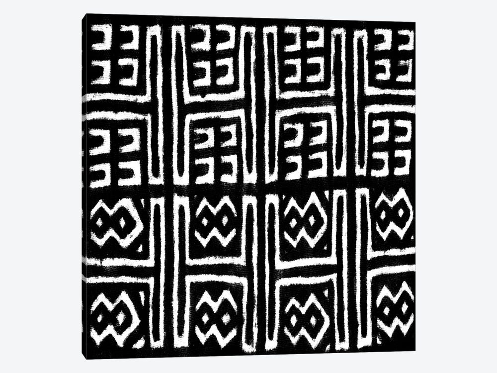 Mudcloth Black Geometric Design VII by Ellie Roberts 1-piece Canvas Art Print