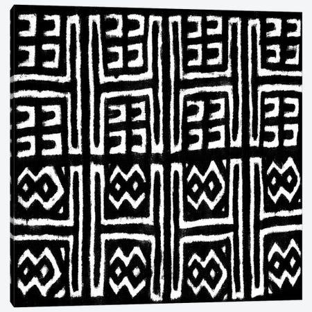 Mudcloth Black Geometric Design VII Canvas Print #ERO94} by Ellie Roberts Canvas Wall Art