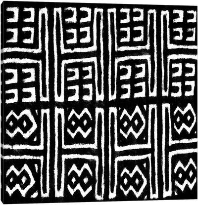 Mudcloth Black Geometric Design VII Canvas Art Print