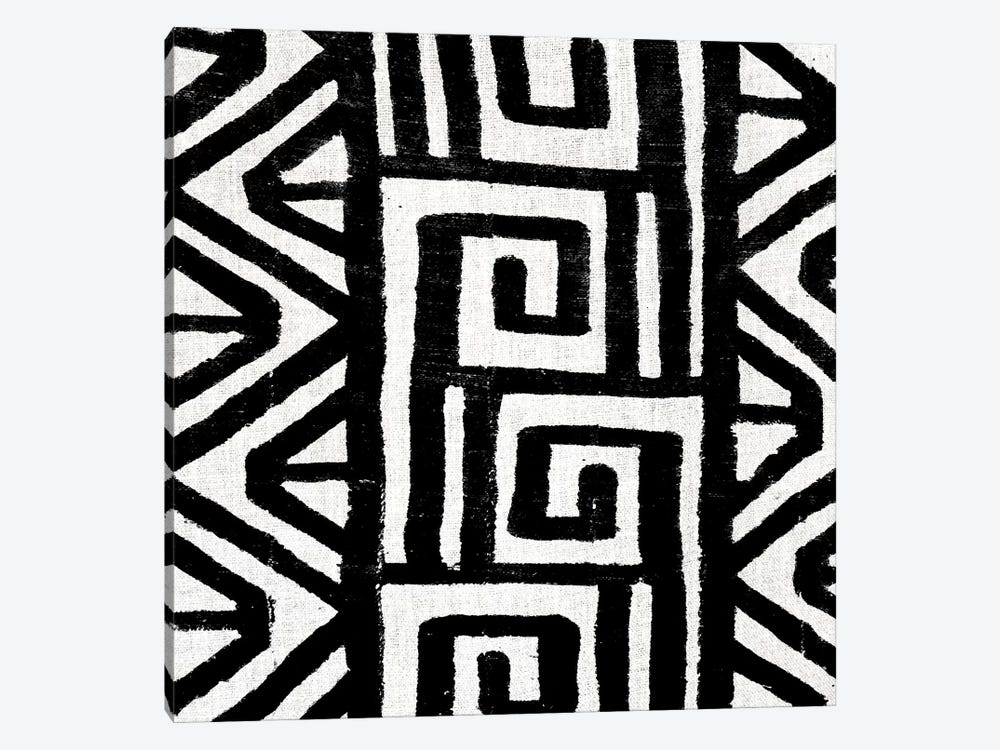 Mudcloth Black Geometric Design VIII by Ellie Roberts 1-piece Canvas Art