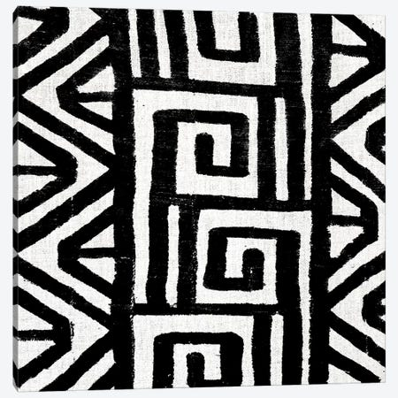 Mudcloth Black Geometric Design VIII Canvas Print #ERO95} by Ellie Roberts Canvas Artwork