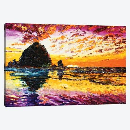 Haystacks At Sunset Canvas Print #ERY16} by Eryn Tehan Canvas Wall Art
