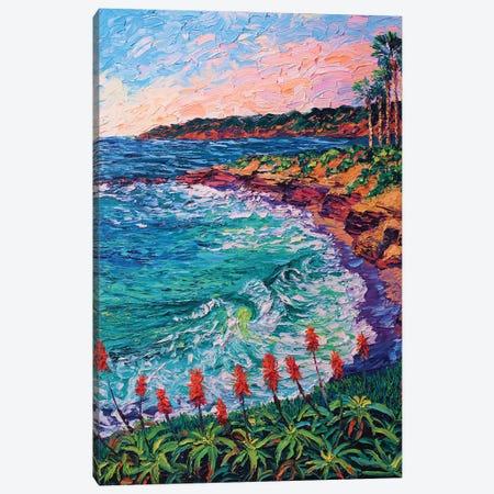 La Jolla Cove Blooms Canvas Print #ERY19} by Eryn Tehan Art Print