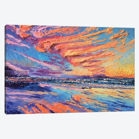 Shoreline Sunset Canvas Print #ERY37} by Eryn Tehan Canvas Artwork