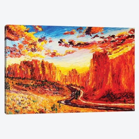 Smith Rock At Sunset Canvas Print #ERY41} by Eryn Tehan Canvas Wall Art