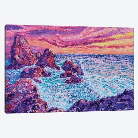 Thrashing Waves Canvas Print #ERY50} by Eryn Tehan Art Print