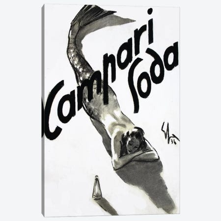 Campari Soda Mermaid, 1936 Canvas Print #ESA1} by Enrico Sacchetti Canvas Print