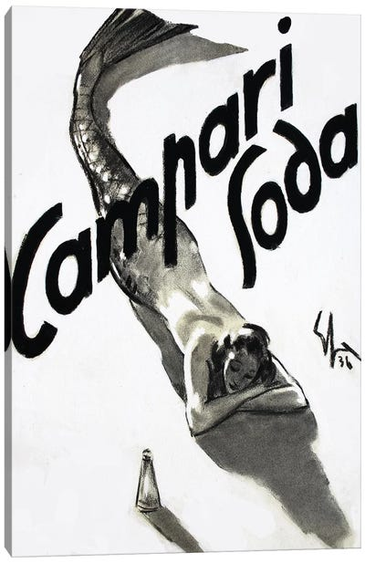 Campari Soda Mermaid, 1936 Canvas Art Print