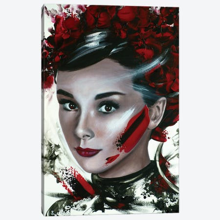 Audrey In Red Canvas Print #ESB18} by Estelle Barbet Canvas Art Print