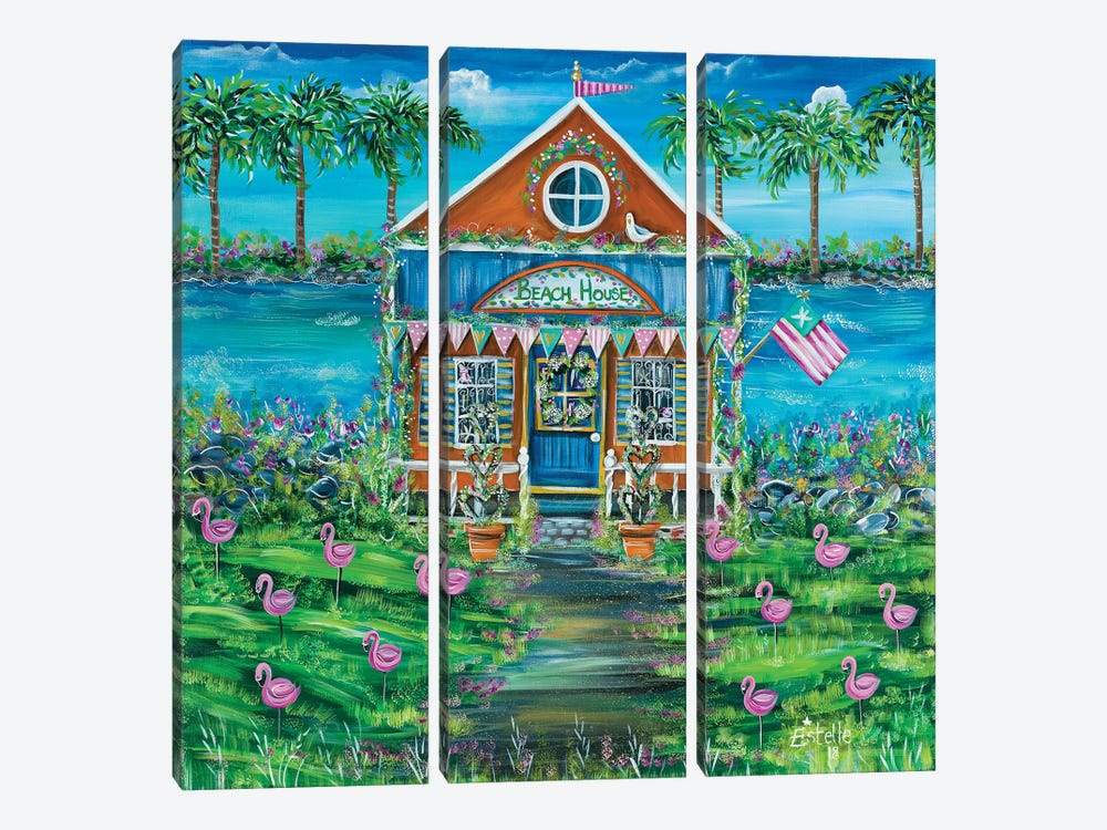 Beach House by Estelle Grengs 3-piece Canvas Art