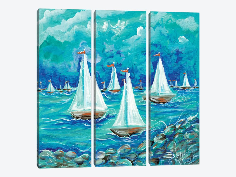 Sailing by Estelle Grengs 3-piece Canvas Print