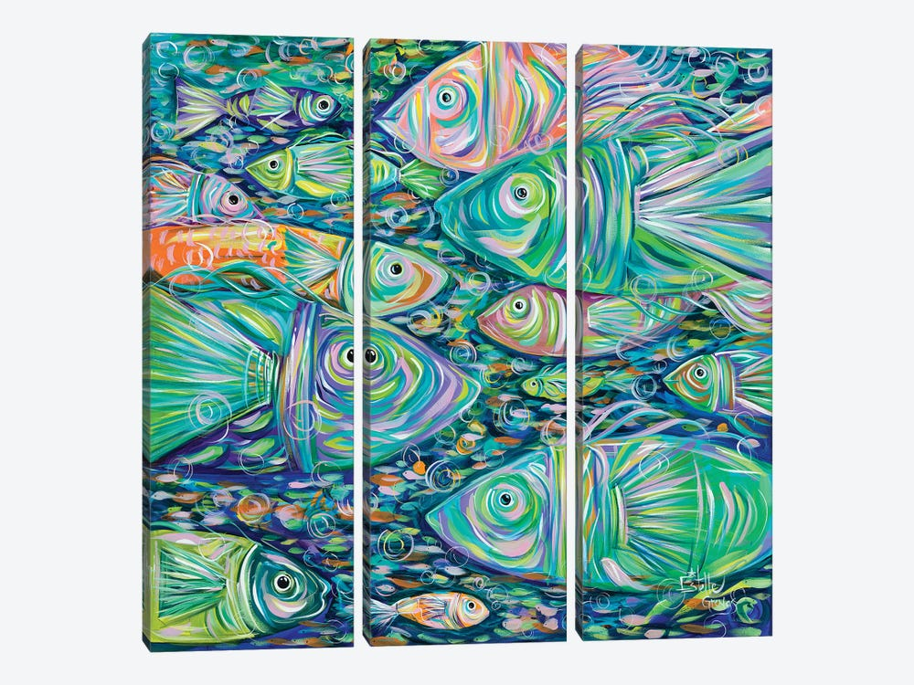 School of Fish by Estelle Grengs 3-piece Canvas Artwork