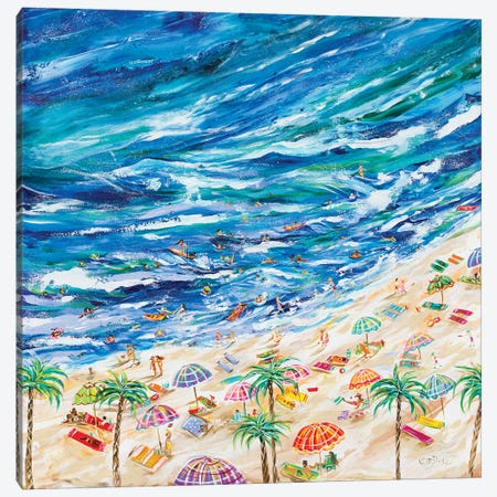 A Day At The Beach Canvas Print #ESG41} by Estelle Grengs Art Print