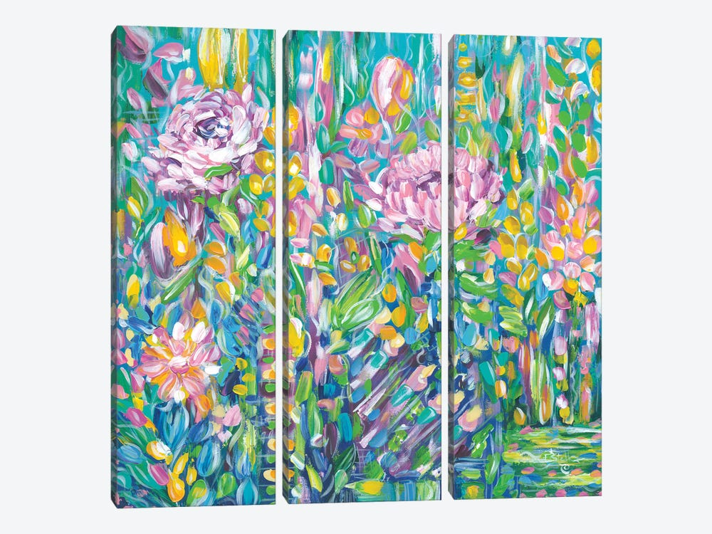 Field Of Flowers by Estelle Grengs 3-piece Canvas Print