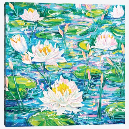 Water Lilies Afloat Canvas Print #ESG49} by Estelle Grengs Art Print