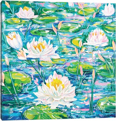 Water Lilies Afloat Canvas Art Print