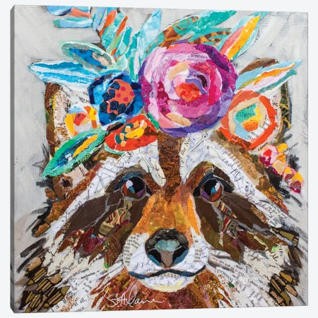 Raccoon Floral Canvas Print #ESH48} by Elizabeth St. Hilaire Canvas Wall Art