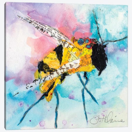 Happy Bee II Canvas Print #ESH67} by Elizabeth St. Hilaire Canvas Art Print