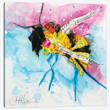 Happy Bee III Canvas Print #ESH68} by Elizabeth St. Hilaire Canvas Artwork