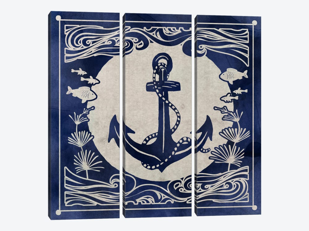 Ink Anchor by Edward Selkirk 3-piece Canvas Wall Art