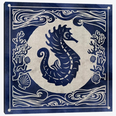 Ink Seahorse Canvas Print #ESK122} by Edward Selkirk Canvas Art