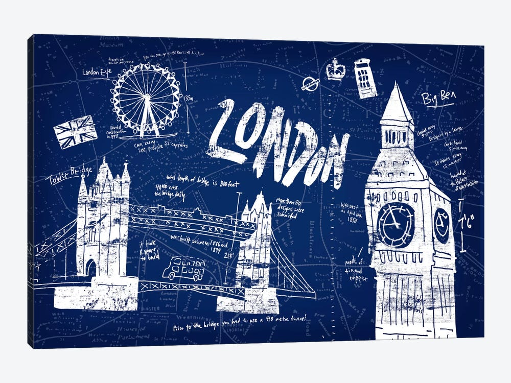 London Blue by Edward Selkirk 1-piece Canvas Wall Art